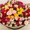 Букет из разноцветных кустовых роз 0