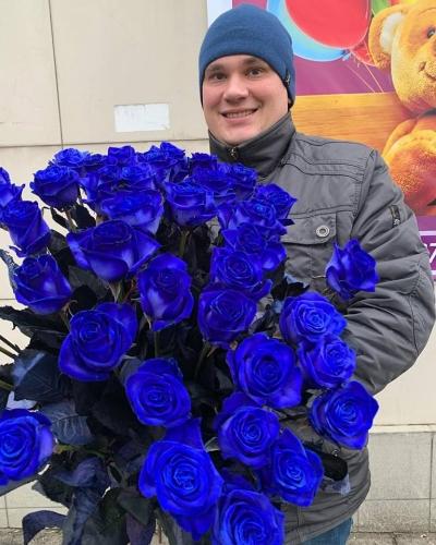 Синяя роза  высота 80 см