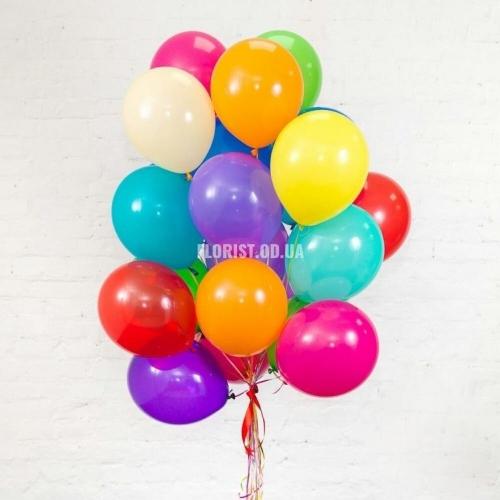 Разноцветные гелиевые шары 21 штука