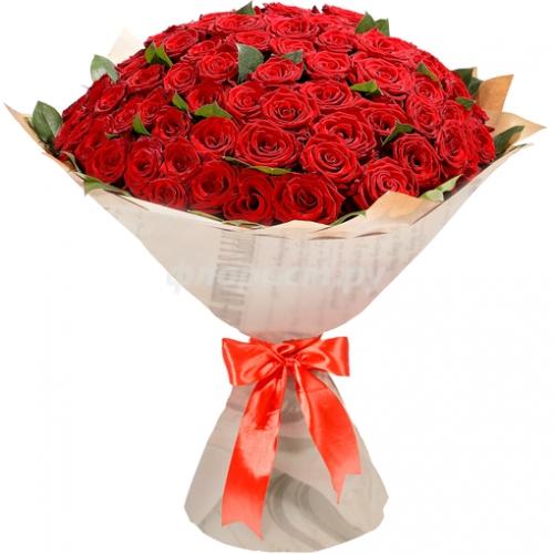 101 красная роза в бумаге
