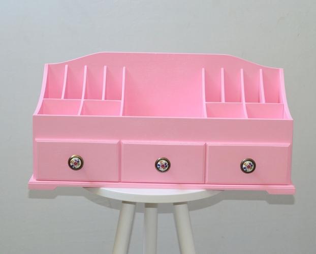 Комод для косметики, розовый с 3 ящиками