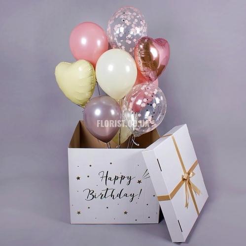 Коробка -сюрприз с шариками (белая)