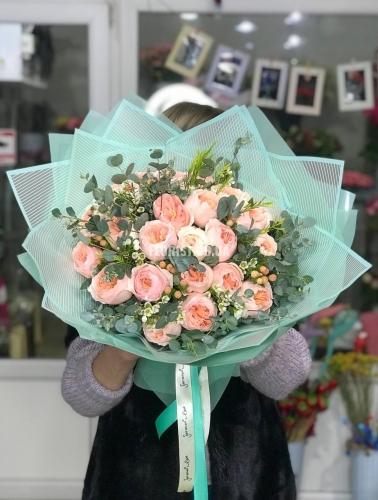 Букет пионовидных роз сорт Джульетта