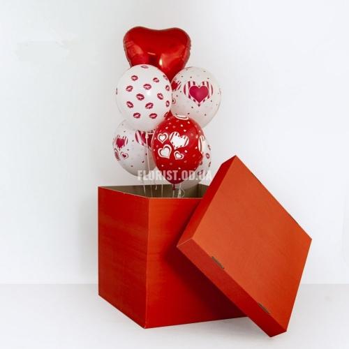 Коробка -сюрприз с шариками (красная)
