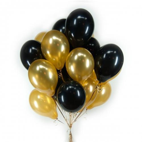 Стильные черные и золотые гелиевые метализированные шары
