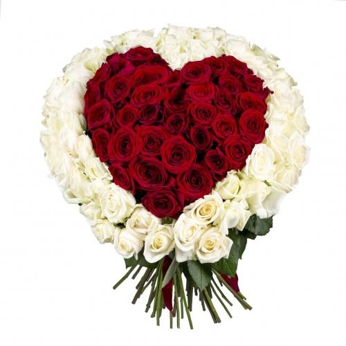 Букет из роз в форме сердца 101 роза