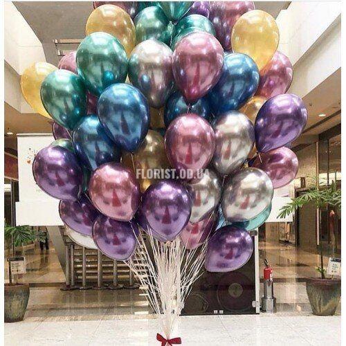 Метализированные шары с гелием, 51 штука