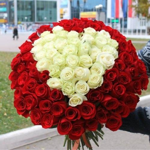 Букет в виде сердца из 101 розы Сердце моё