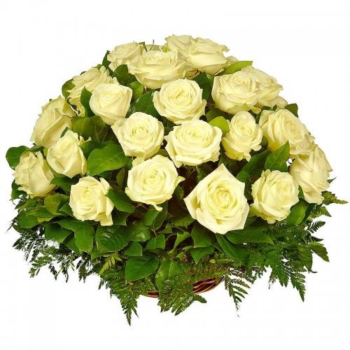 Корзина белых роз Ангел Доставка цветов Одесса