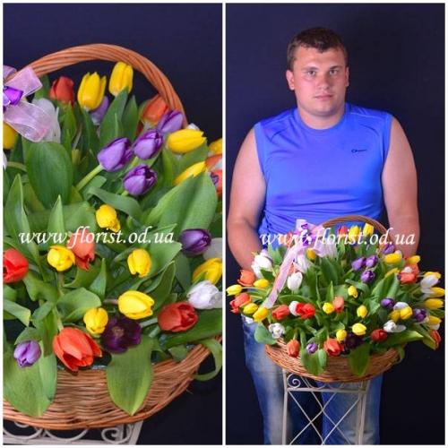 Корзина из 101 разноцветного тюльпана Цветная капель