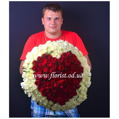 Букет сердце из роз Моя любовь (201 роза)