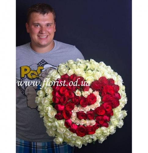 Букет из роз в форме сердца Два года вместе и навсегда