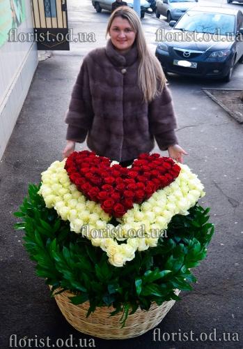 Корзина из 201 эквадорской розы белого и красного цвета. Сердце