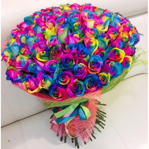 Букет 101 Радужная роза