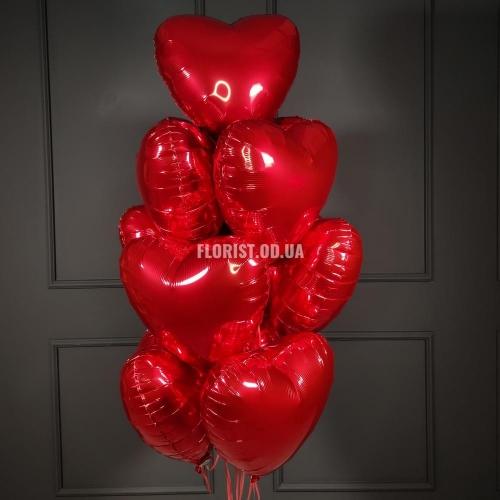 Красные фальгированные сердца 7 шт
