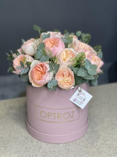 Пионовидные розы Остина в круглой коробке