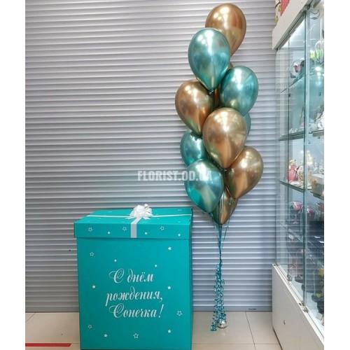 Коробка- сюрприз с шарами (мятная)